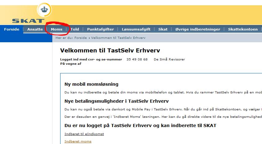 Indberetning af udbytte og udbytteskat i TastSelv-Erhverv () | FSR - danske revisorer